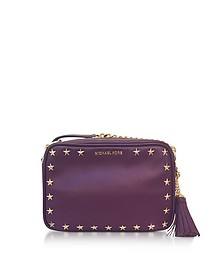 Ginny Medium Damson Leather Camera Bag w/Stars - Michael Kors