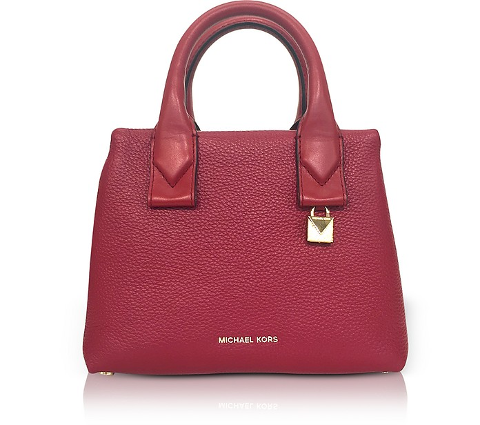 76eb13f2eb714 Michael Kors Rollins Small Pebbled Leather Satchel at FORZIERI