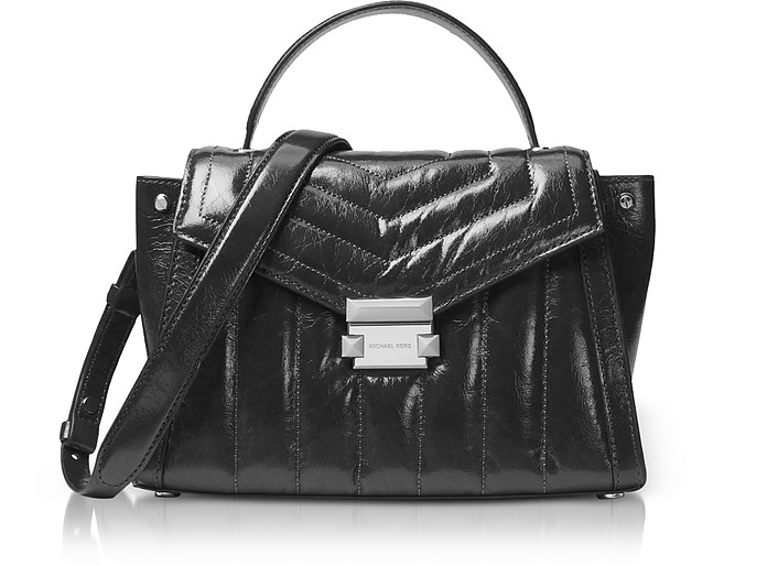 Whitney Medium Quilted Leather Satchel, Black