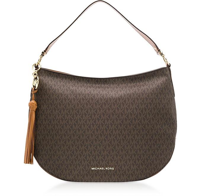 Brooke Large Zip Shoulder Bag w/ MK Letters - Michael Kors