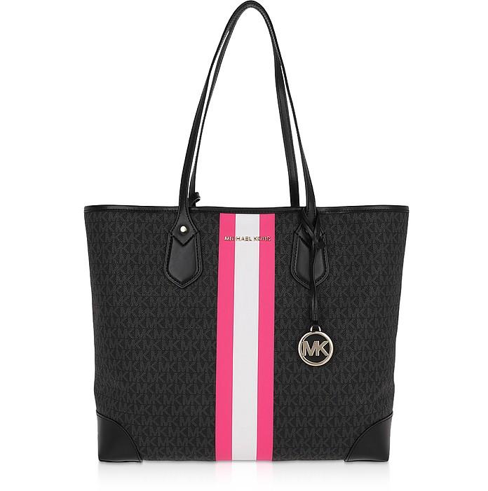 Eva Large Tote Bag w/ Neon Center Stripe - Michael Kors