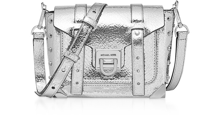Silver Small Manhattan Messenger Bag - Michael Kors