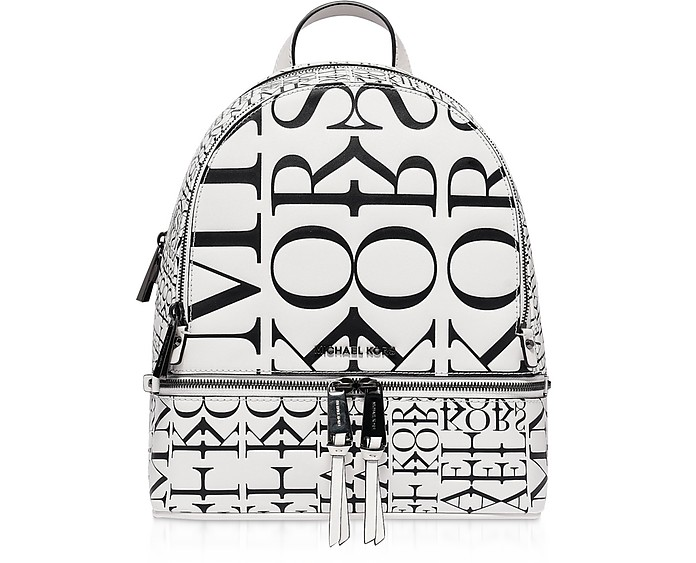 Rhea Medium Backpack w/ Newsprint Logo - Michael Kors
