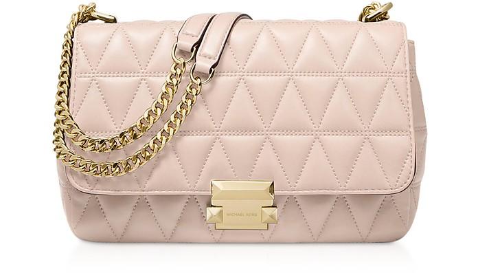 Large Soft Pink Quilted Leather Sloan Shoulder Bag - Michael Kors