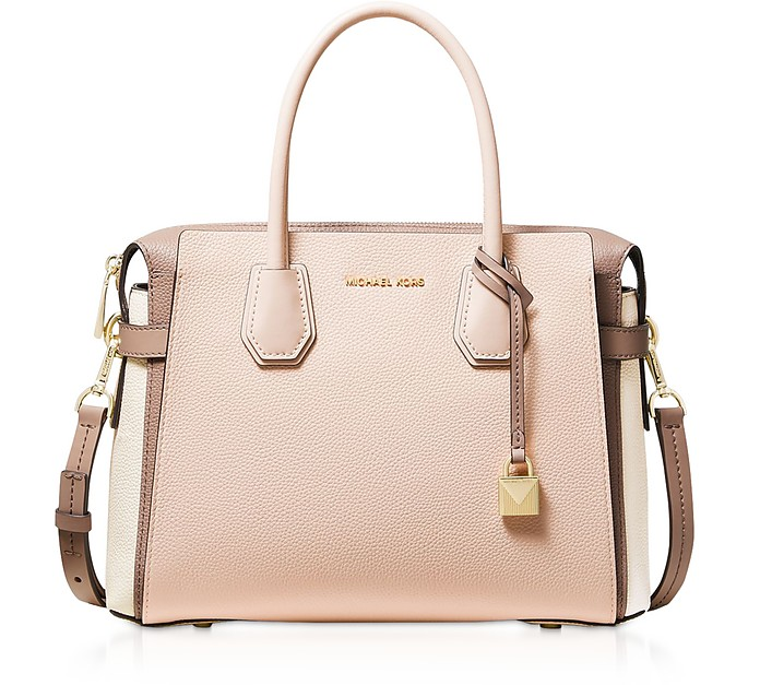 Mercer Medium Tri-Color Pebbled Leather Belted Satchel Bag