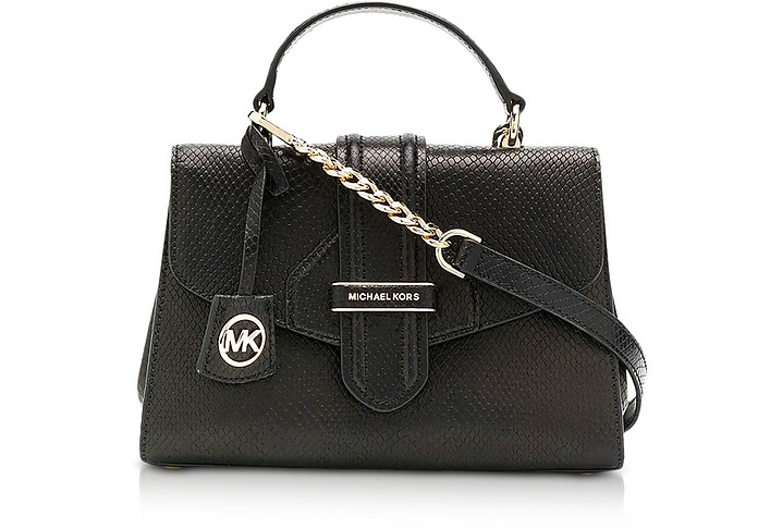 Black Embossed Python Leather Small Top-Hancle Bleecker Satchel Bag - Michael Kors