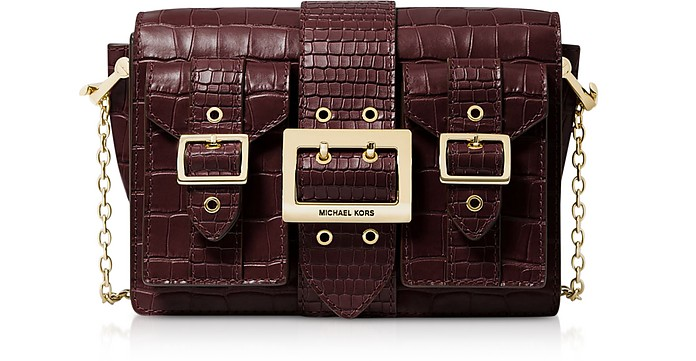 Hayden Medium Crocodile-embossed Leather Messenger Bag - Michael Kors
