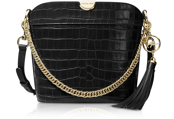 Bea Medium Crocodile-Embossed Leather Bucket Shoulder Bag - Michael Kors