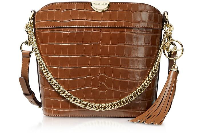 Bea Medium Crocodile-Embossed Leather Bucket Shoulder Bag - Michael Kors