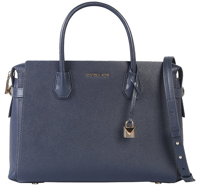 Blue Grainy Leather Mercer Bag - Michael Kors