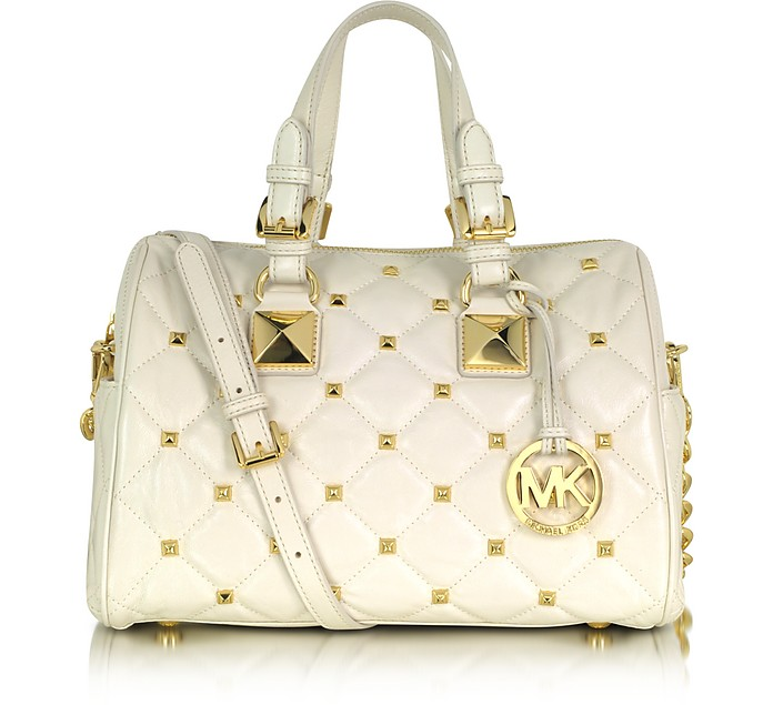 aeadd7b6071b Michael Kors Grayson Quilted   Studded Leather Satchel at FORZIERI