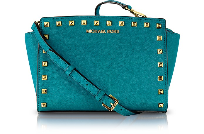 b9aecbeddc7e Michael Kors Turquoise Selma Studded Saffiano Leather Crossbody Bag ...