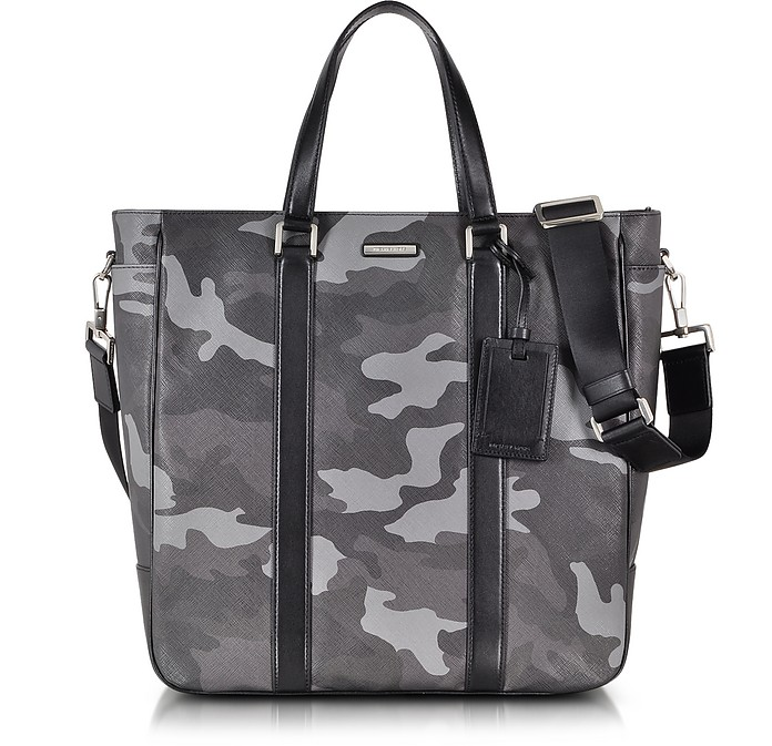 1a89437903bc Michael Kors Grey Large Jet Set Men's Camo Eco Leather Tote at FORZIERI