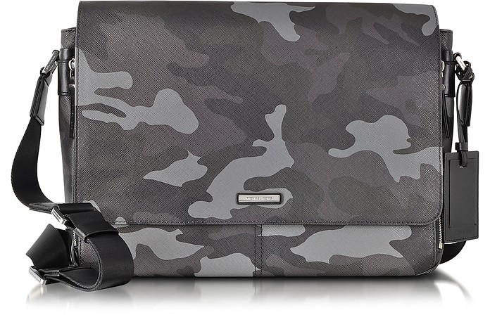 1c53da4dbefd Michael Kors Jet Set Men's Grey Camouflage Messenger Bag at FORZIERI