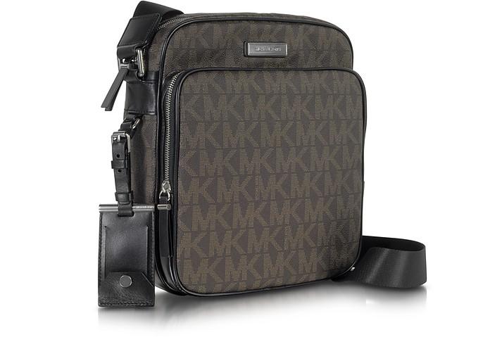 4a681ebc5f8d Michael Kors Brown Woven Signature Messenger Men's Bag at FORZIERI Canada