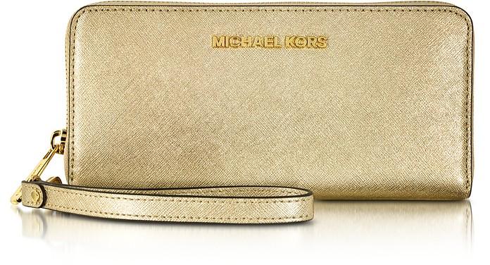 Jet Set Travel Pale Gold Metallic Saffiano Leather Continental Wallet - Michael Kors