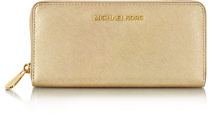 fea1c3acaf9ca Jet Set Travel Pale Gold Saffiano Leather Continental Wallet - Michael Kors