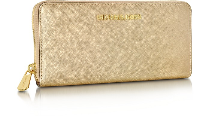 363f27b521ba Twitter · Pinterest · Share on Tumblr. Jet Set Travel Pale Gold Saffiano  Leather Continental Wallet - Michael Kors