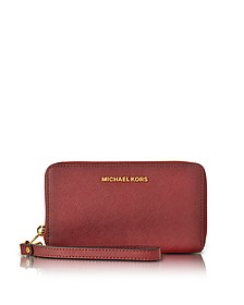 Jet Set Travel Large Flat MF Cherry Saffiano Leather Phone Case/Wallet - Michael Kors