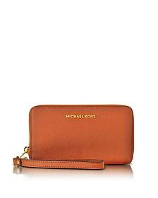 Jet Set Travel Large Flat MF Orange Saffiano Leather Phone Case/Wallet - Michael Kors