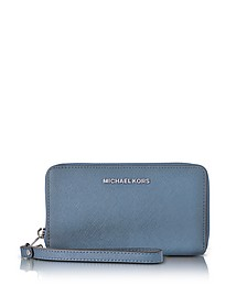 Jet Set Travel Large Flat MF Denim Saffiano Leather Phone Case/Wallet - Michael Kors