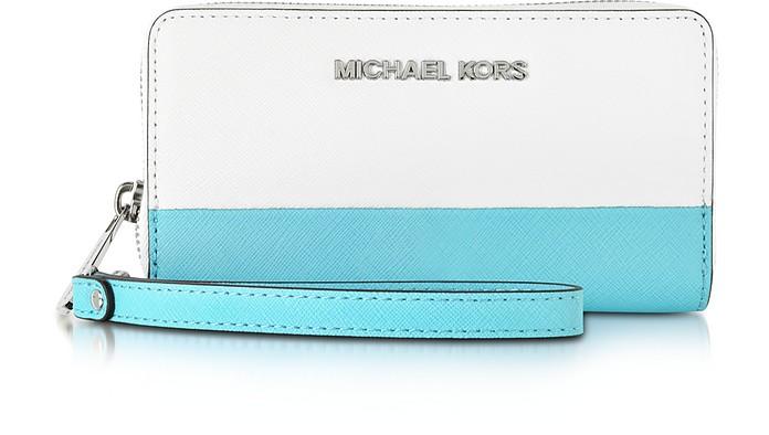 Jet Set Travel Color-Block Leather Phone Case - Michael Kors