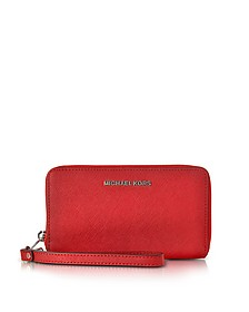 Jet Set Travel Large Flat MF Bright Red Saffiano Leather Phone Case/Wallet - Michael Kors