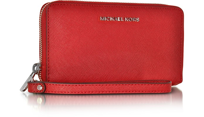 3bb68cfbf010 Jet Set Travel Large Flat MF Bright Red Saffiano Leather Phone Case/Wallet  - Michael. AU$192.50 Actual transaction amount