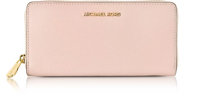 15d8ce8b Soft Pink Jet Set Travel Saffiano Leather Continental Wallet - Michael Kors