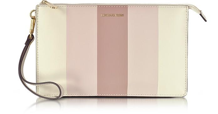 Large Daniela Striped Leather Zip Clutch - Michael Kors