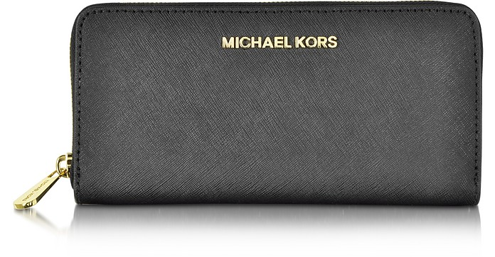 86a2c72f388a Black Jet Set Travel Saffiano Leather Continental Wallet - Michael Kors