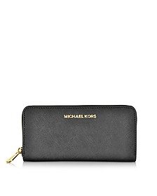 Black Jet Set Travel Saffiano Leather Continental Wallet - Michael Kors