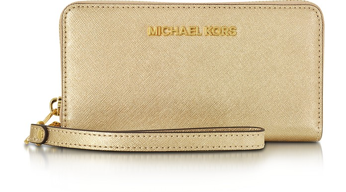 12894ea32a5c Pale Gold Metallic Saffiano Leather Jet Set Travel Large Smartphone Wristlet  - Michael Kors