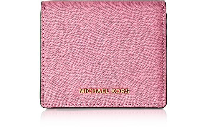 1036209f14958 Jet Set Travel Misty Rose Saffiano Leather Carryall Card Case - Michael Kors