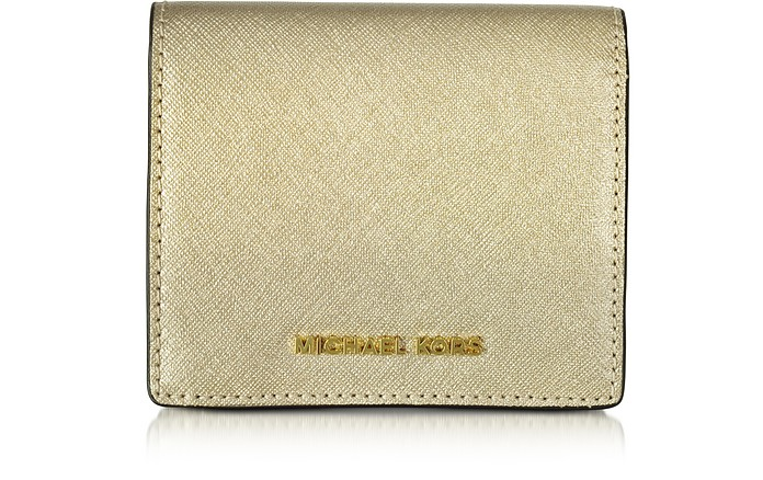 Jet Set Travel Pale Gold Saffiano Leather Carryall Card Case - Michael Kors