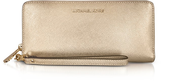 Jet Set Travel Large Pale Gold Metallic Leather Continental Wallet - Michael Kors