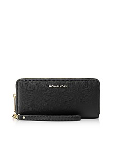 Mercer Large Black Pebble Leather Continental Wallet - Michael Kors