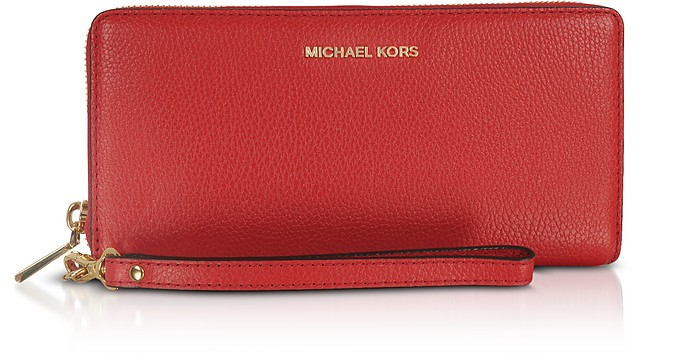 b2c9227981c3 Mercer Large Bright Red Pebble Leather Continental Wallet - Michael Kors