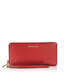 Mercer Large Bright Red Pebble Leather Continental Wallet - Michael Kors