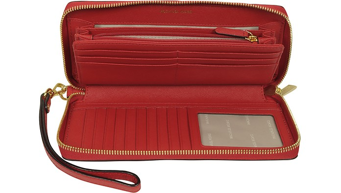 77c426e56e26a4 Michael Kors Mercer Large Bright Red Pebble Leather Continental Wallet