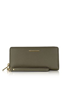 Mercer Large Olive Pebble Leather Continental Wallet - Michael Kors