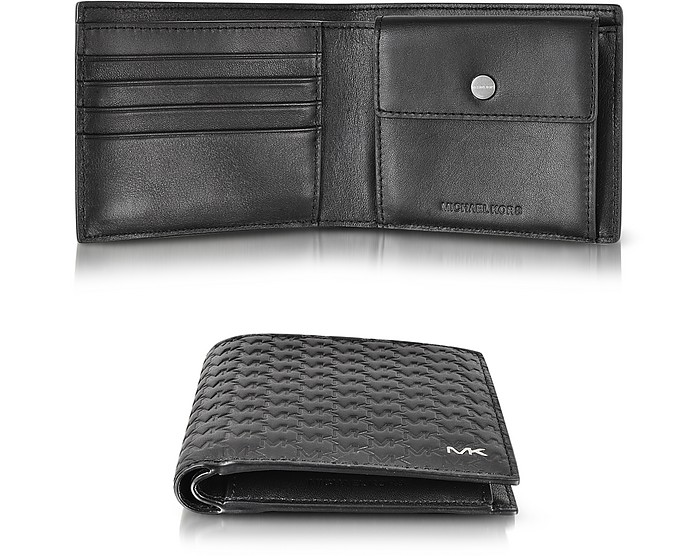 806ff09d527f Jet Set Men s Black Logo Embossed Leather Billfold w Coin Pocket - Michael  Kors