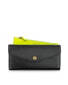 Color Block Saffiano Leather Carryall Wallet