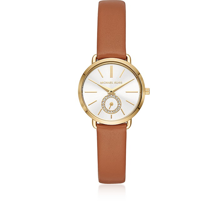 Michael Kors Women's Gold-Tone and Luggage Leather Portia Watch - Michael Kors