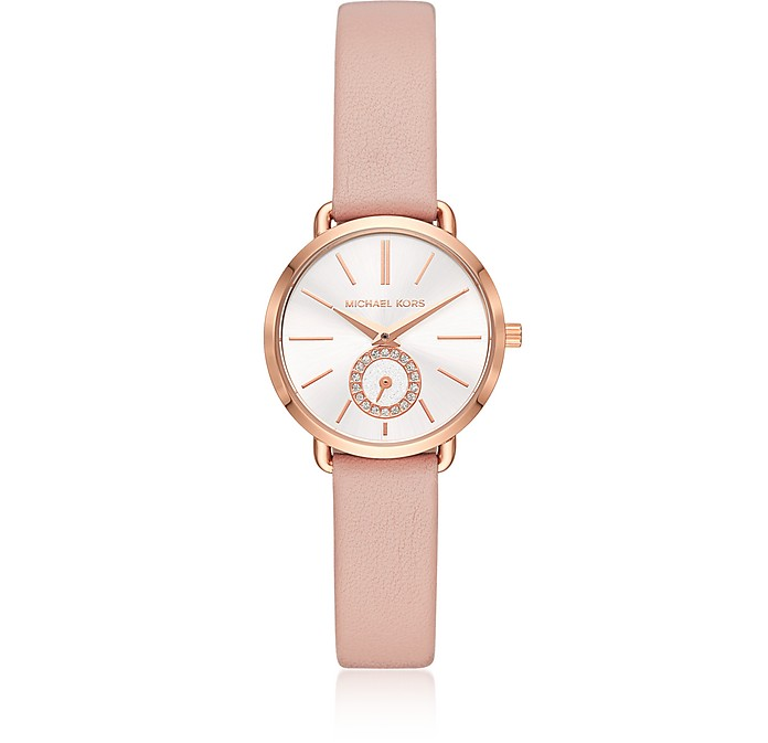 Michael Kors Women's Rose Gold-Tone and Blush Leather Portia Watch - Michael Kors