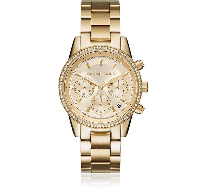 Ritz Pavé Gold Tone Women's Watch - Michael Kors