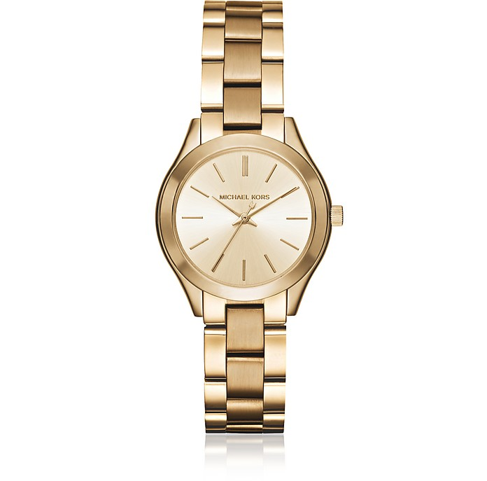 Mini Slim Runway Gold Tone Women's Watch - Michael Kors