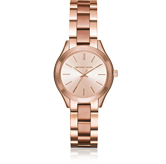 Mini Slim Runway Rose Gold Tone Women's Watch - Michael Kors