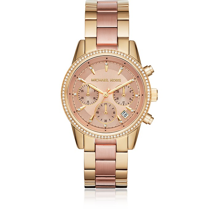 Ritz Gold and Pink Tone Women's Watch - Michael Kors
