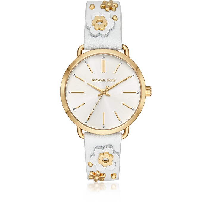 Portia Floral Appliqué Leather and Gold-Tone Women's Watch - Michael Kors